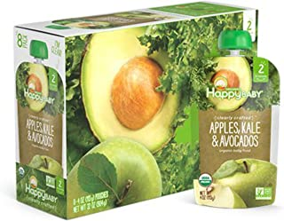 Happy Baby Organic Clearly Crafted Stage 2 Baby Food, Apples, Kale and Avocadoes, 4 Ounce (8 Count)