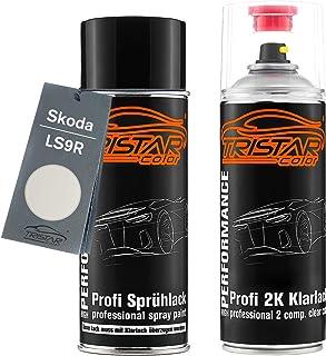 TRISTARcolor Autolack 2K Spraydosen Set für Skoda LS9R Moon White Metallic/Bila Moon Metallic Basislack 2 Komponenten Klarlack Sprühdose