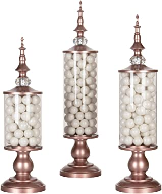 AMALFI DÉCOR Apothecary Jars Set of 3 Clear Glass Candy Dish Holder with Metal Lids Cookie Jar Buffet Display, Rose Gold
