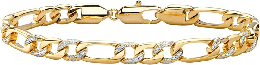 Palm Beach Jewelry Men's White Diamond Accent Pave-Style 14k Gold-Plated Figaro-Link Bracelet 8.5