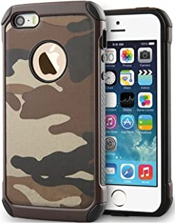 FDTCYDS iPhone 5S Case,Slim Fit, Soft TPU and Hard PC Leather Armor Case, Heavy Duty Protection Cover Case for Apple iPhone 5/5S - Camo Brown