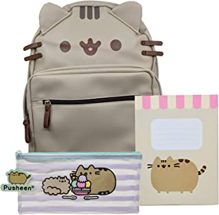 Pusheen The Cat Back to School Set Cat Face PU Leather Backpack, New Scalloped Design Notebook and Striped Pencil Case - Gift for Student