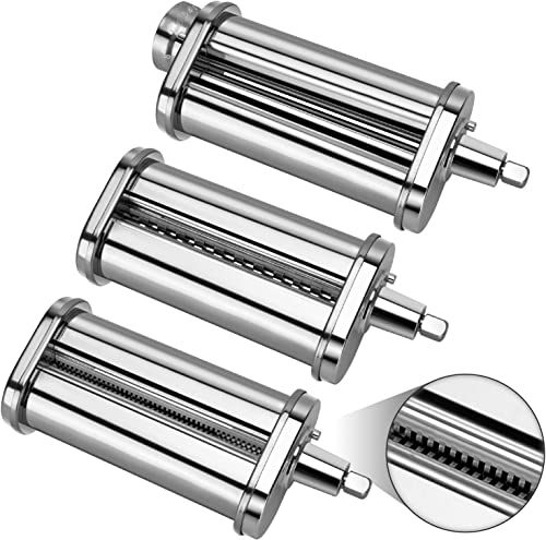 2021 3-Pcs Pasta Roller & Cutter Attachment Set for PHISINIC lowest & All KitchenAid Stand Mixer, popular Stainless Steel Pasta Maker Accessory sale