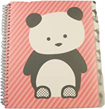 Studio C Carolina Pad The Hair of The Dog Collection College Ruled Poly Cover 5-Subject Spiral (Panda on Pink Stripes, 150 Sheets, 300 Pages)