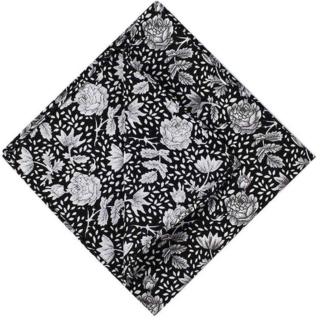 Men's 100% Cotton Fashion Floral Handkerchiefs for Casual Business