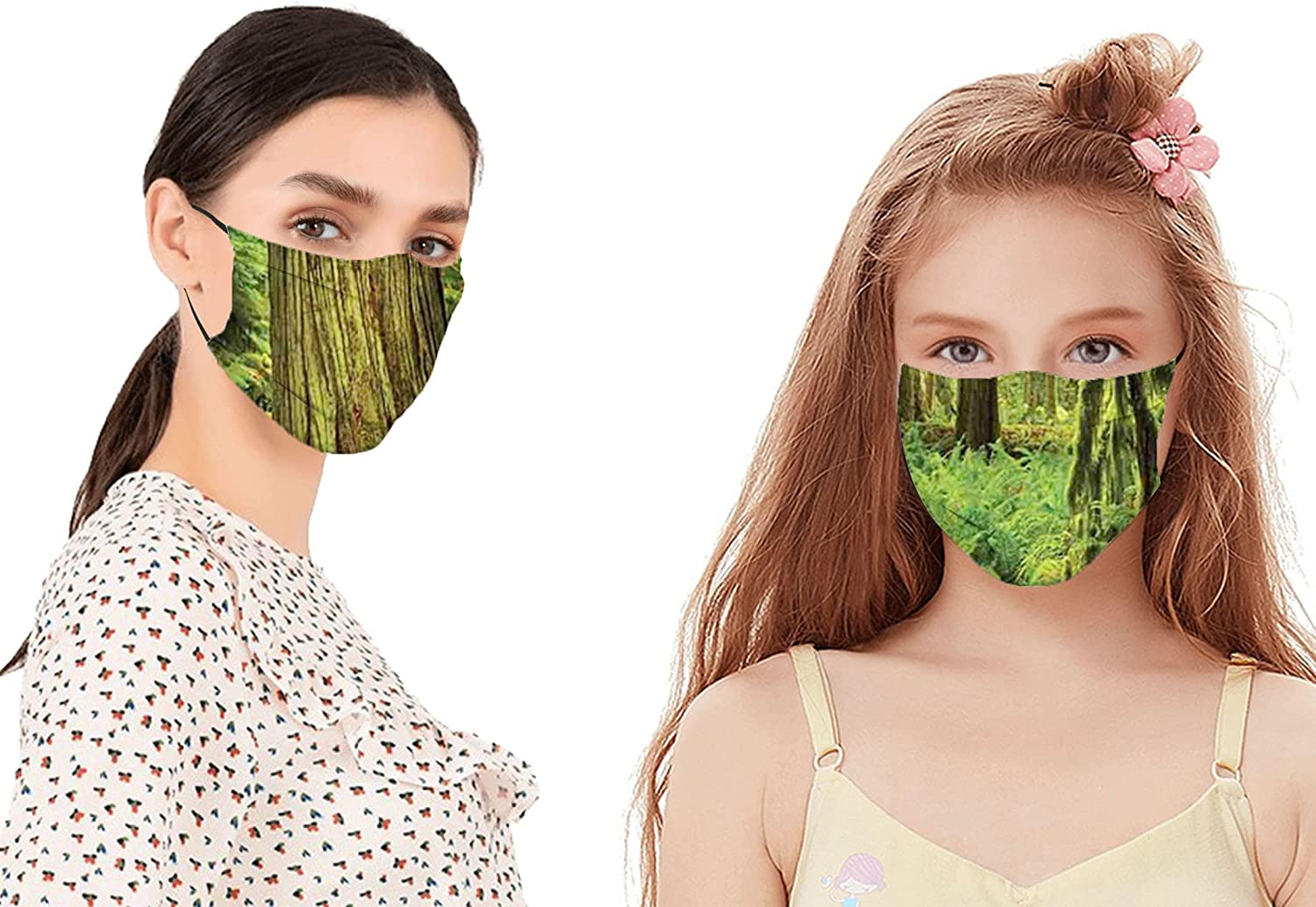 Idyllic Rainforest in Canadian Island with Ferns Moss on Tree Nature Photo Face Mask Reusable Washable Masks Cloth for Men and Women(2PC with 2 Filter)
