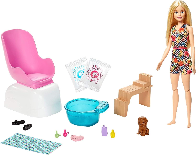 Barbie Conjunto de Juego SPA y salón de Belleza, muñeca Rubia, Perrito, Paquetes de Polvo y Efectos de Cambio de Color, Multicolor (Mattel GHN07)