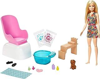 Barbie Mani-Pedi Spa Playset, Blonde Barbie Doll, Puppy, Fizzy Packs & Color-Change