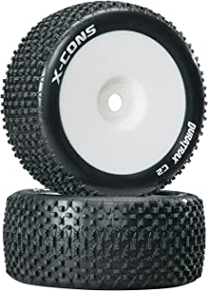 Duratrax X-Cons 1:8 Scale Truggy Tires with Foam Inserts, C2 Soft Compound, Mounted on White Wheels (Set of 2)