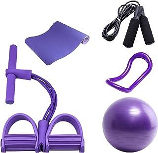 Yogamatta Femdelad kostym, 4 rörsträckare Yoga-ring 25 cm Pilatesboll Svart hopprep, för kontor & hem & gym Fitnessutrustn...