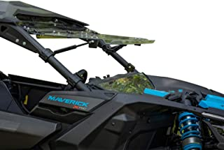 SuperATV Heavy Duty Scratch Resistant Flip Windshield for Can-Am Maverick X3 900 / Turbo/X RS/X DS/X MR/MAX (2017+) - Can Be Set To 3 Different Positions!