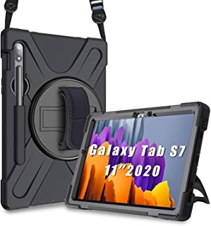 Herize Samsung Galaxy Tab S7 Case 2020, Heavy Duty Shockproof Rugged Case with S Pen Holder, Hand Strap, Carrying Shoulder...