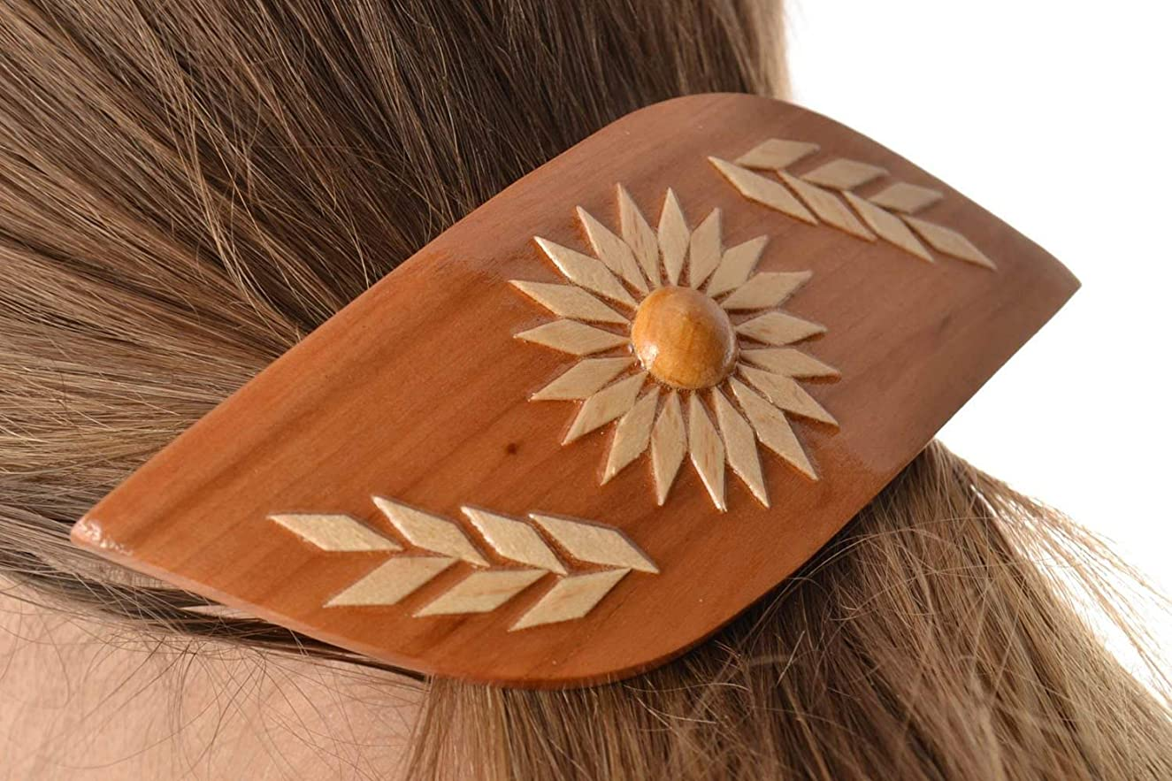 Beautiful Women's Handmade Wooden Hair Clip With Pattern Eco Friendly By MadeHeart