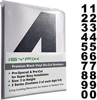 Black Vinyl Numbers Stickers - 3 Inch Self Adhesive - 2 Sets - Premium Decal Die Cut and Pre-Spaced for Mailbox, Signs, Window, Door, Cars, Trucks, Home, Business, Address Number, Indoor or Outdoor