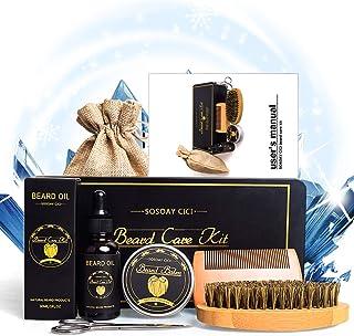 Skäggkit för män, skäggvård tillväxt grooming kit inklusive skäggolja, skäggbalsam, skäggborste, skäggsax, förvaringsväska...