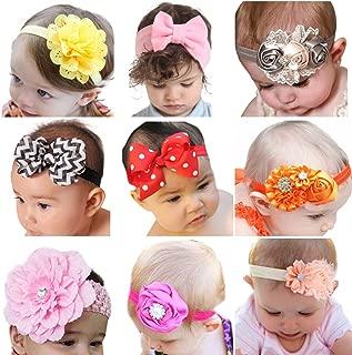 Roewell Baby's Headbands Girl's Cute Hair Bows Hair Bands Newborn Headband (9 Bows)