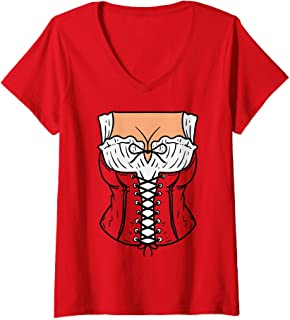 Womens Dirndl Dress Costume DIY Easy Lazy Halloween Oktoberfest V-Neck T-Shirt