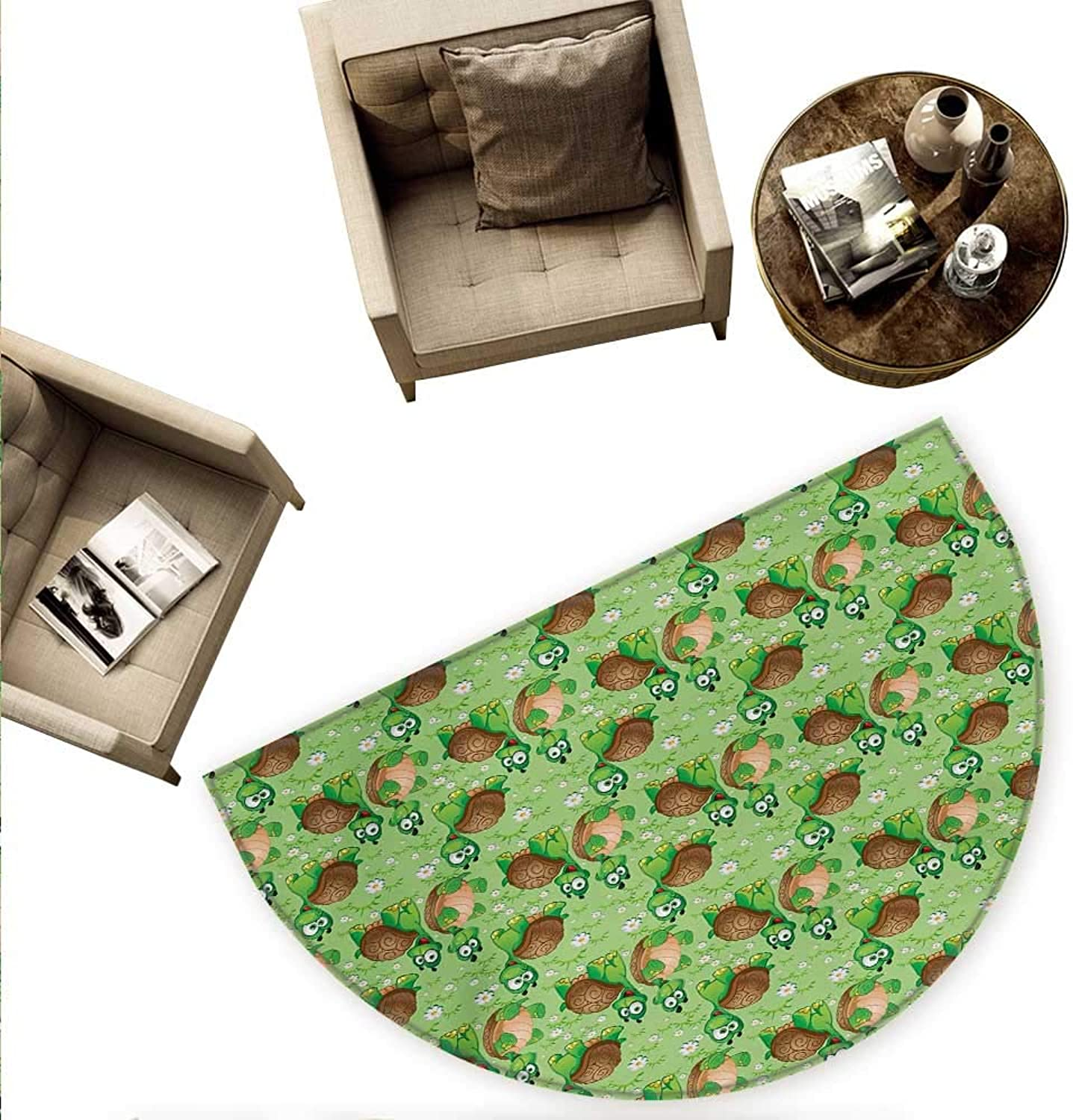 Nursery Semicircular Cushion Pattern with Cartoon Funny Turtles on Green Spring Meadow with Daisies Entry Door Mat H 55.1  xD 82.6  Green Brown Sand Brown