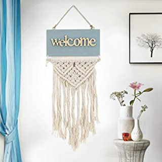 Dyna-Living Macrame Woven Wall Hanging Welcome Door Sign Tapestry Wall Art Macrame Tapestry Handmade Boho Chic Bohemian Home Décor for Apartment Dorm Room Wedding Party Event Decoration, 12