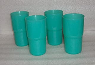 Tupperware TableTop Stacking 12 oz Tumblers Set of 4 Sheer Teal Green