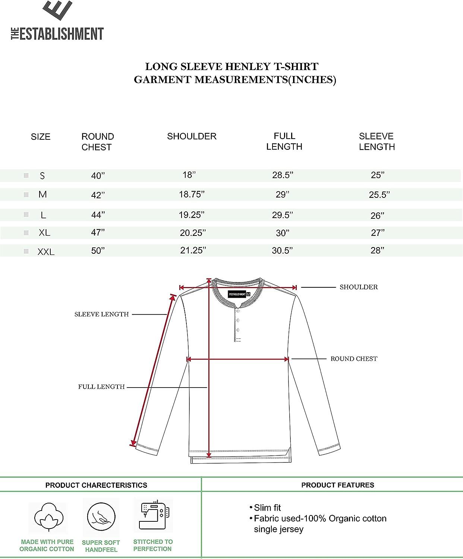 The Establishment Men's 100% Organic Cotton Long Sleeve Henley Tshirt(S to XXL)