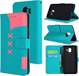 Yhongxia Fabric Stitching Embroidery Horizontal Flip Leather Case With Holder & Card Slots & Wallet for Galaxy J4(Red) Yhongxia (Color : Light Blue)