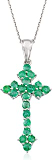 2.00 ct. t.w. Emerald Cross Pendant Necklace in Sterling Silver