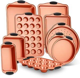 ست پخت نان استیک 10 قطعه - مجموعه سینی پخت فولاد کربنی با دسته های سیلیکونی قرمز Heatsafe ، ایمن فر تا 450 درجه فارنهایت ، کلوچه ماکارونی پیتزا ، ورق کوکی ، و غیره - NutriChef NCSBS54S