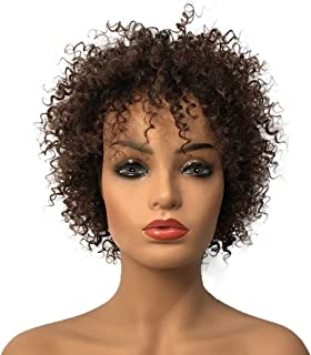 Wiginway Short Kinky Curly Wigs for Black Women Afro African American Wigs Brown Full Wigs Hair Replacement 8 Inch