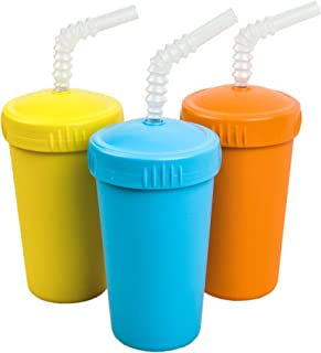 Re-Play Made in USA 3pk Straw Cups with Reversable Straw for Easy Baby, Toddler, Child Feeding - Sky Blue, Orange, Yellow (Spring)