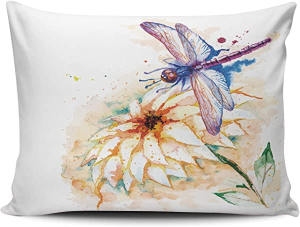 AIHUAW Home Decorative Cushion Covers Throw Pillow Case Beautiful Watercolor Violet Dragonfly And Lily Flower Pillowcases Boudoir 12x16 Inches One Sided Printed Set Of 1