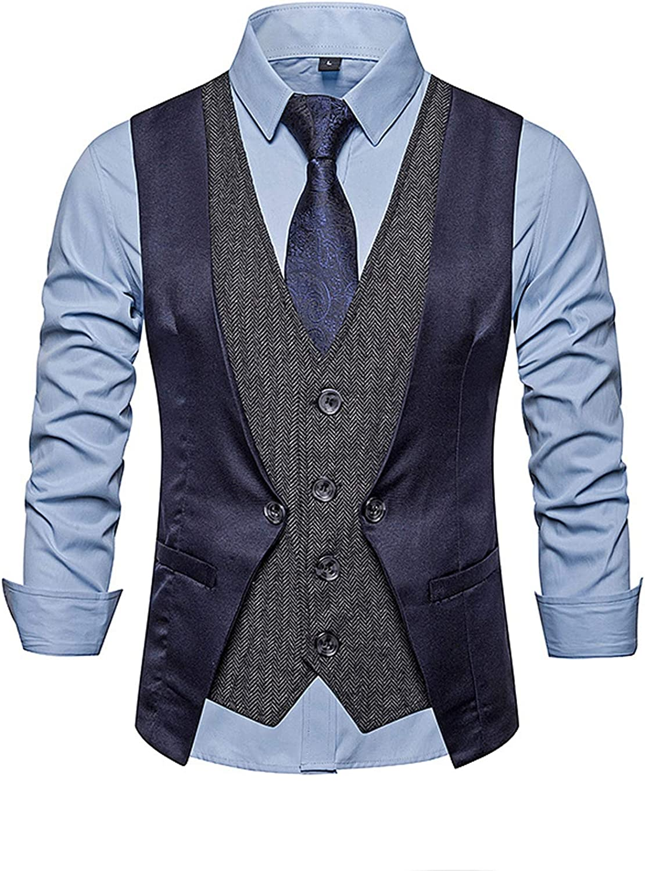 Men Casual False Two Vest,Double Breasted Mens Slim Fit Dress Suit Vests,Fashion Stitching Suit Waistcoats,Navy Blue,M