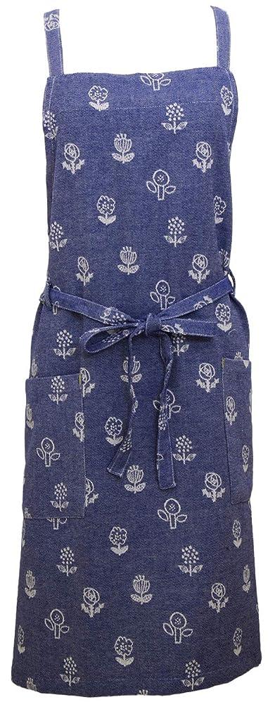 Aness(アネス) 花柄 エプロン ジャガード素材 カフェエプロン 軽量シンプル コットン フラワー 総柄 ショート 肩紐タイプ ポケット付き p422