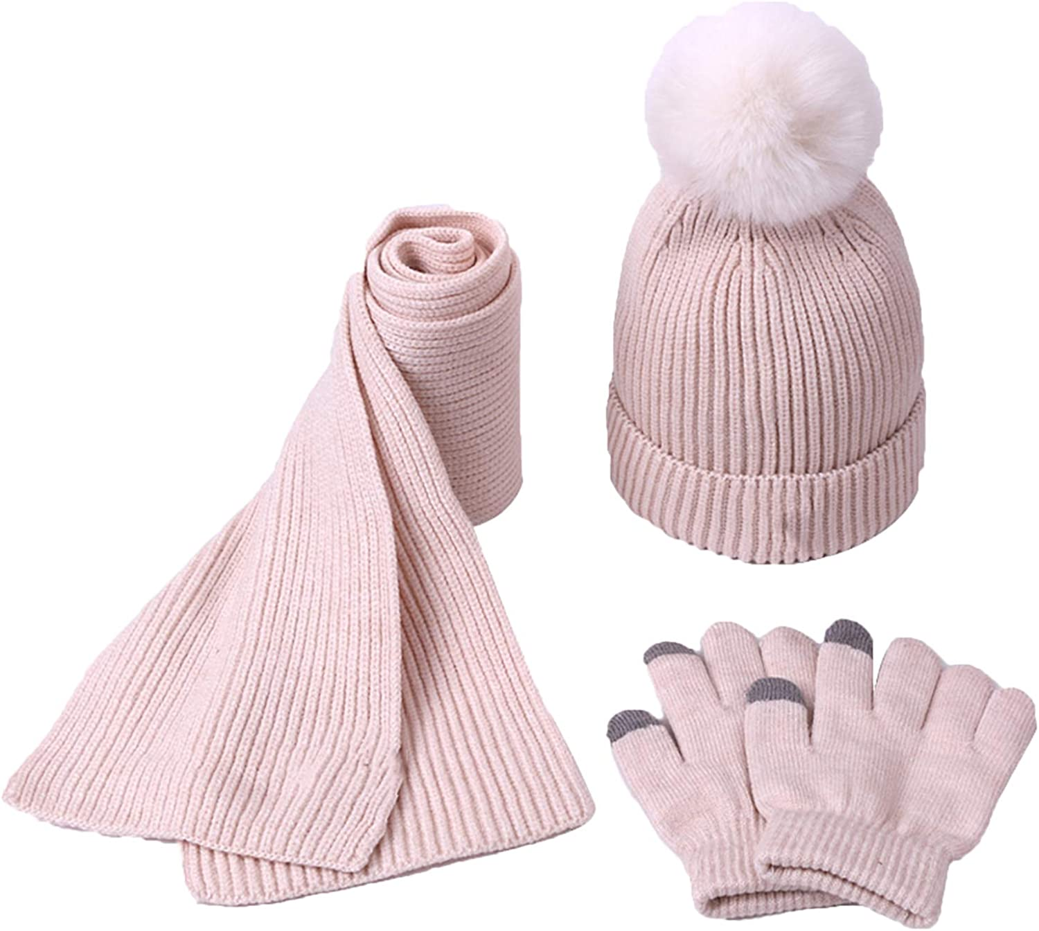 Children Winter Hat Scarf Gloves Set, Super Warm Knit Cap with Pompom and Plush Lined, for Boys/Girls Outdoor Activity Crochet Cap,Beige,M