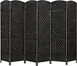6 Panel Room Divider Decorative Folding Rattan Wicker Screen Room Privacy Separator Black