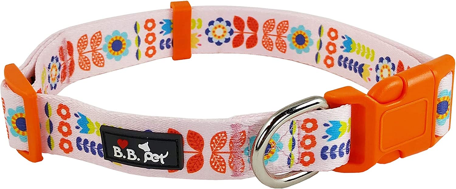 Bestbuddy Pet Summer Flowers Baby Pink Durable Nylon Designer Fashion Dog Collar Trendy Comfortable Adjustable Dog Collar with Buckle BBP005
