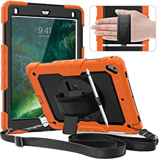 New iPad 9.7 2018/2017 Case,SXTech Full Body Rugged Protective Case with 360° Rotatable Hand Strap/Stand/Shoulder Strap/Screen Protector & Apple Pen Holder for iPad 5th/6th Generation (Orange)