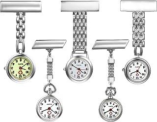 Women's Nurse Watch Simple Classic Unisex Doctor Paramedic Tunic Lapel Pin-on Brooch Quartz Fob Watch Large Arabic Numeral Mark