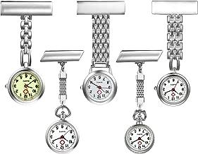 Personalized Custom Engraving Women's Nurse Watch Simple Classic Unisex Doctor Paramedic Tunic Lapel Pin-on Brooch Quartz Fob Watch Large Arabic Numeral Mark