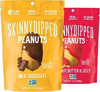 SKINNYDIPPED Peanuts Variety Pack, Milk Chocolate Covered Peanuts and Peanut Butter & Jelly Peanuts, 3.5 Ounce Resealable ...