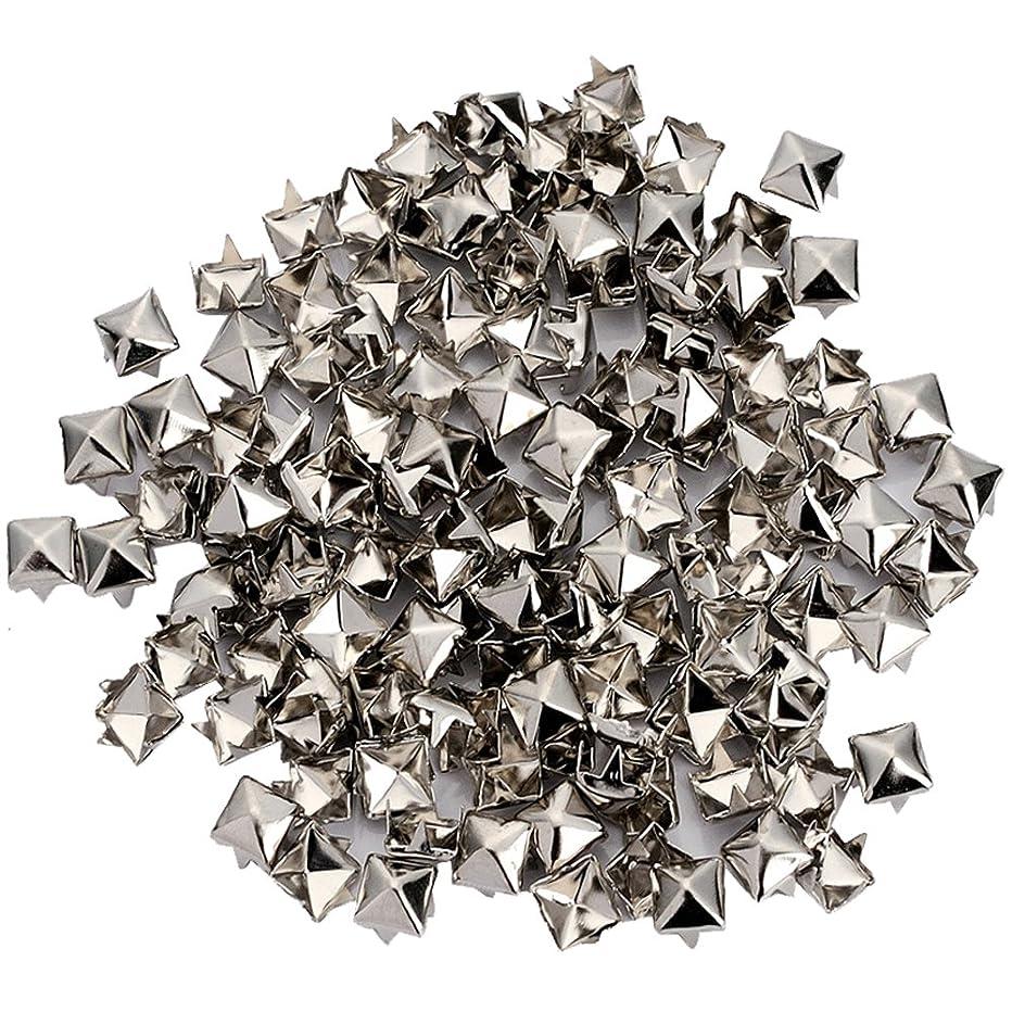 200pcs Punk Colors Metal Square Pyramid Rivet Cone Studs Nailhead Craft Spike DIY (6mm, Silver)