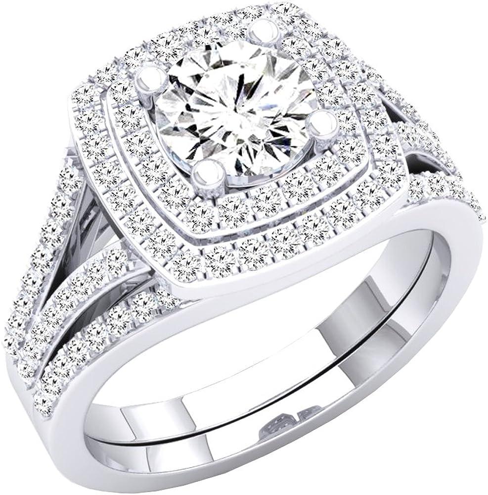 Dazzlingrock Collection 2.70 Carat (ctw) 10K Gold Round Cubic Zirconia Ladies Halo Bridal Engagement Ring Set