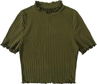 SweatyRocks Women's Embroidered Letter Short Sleeve Crop Top Mock Neck Casual Slim Tees