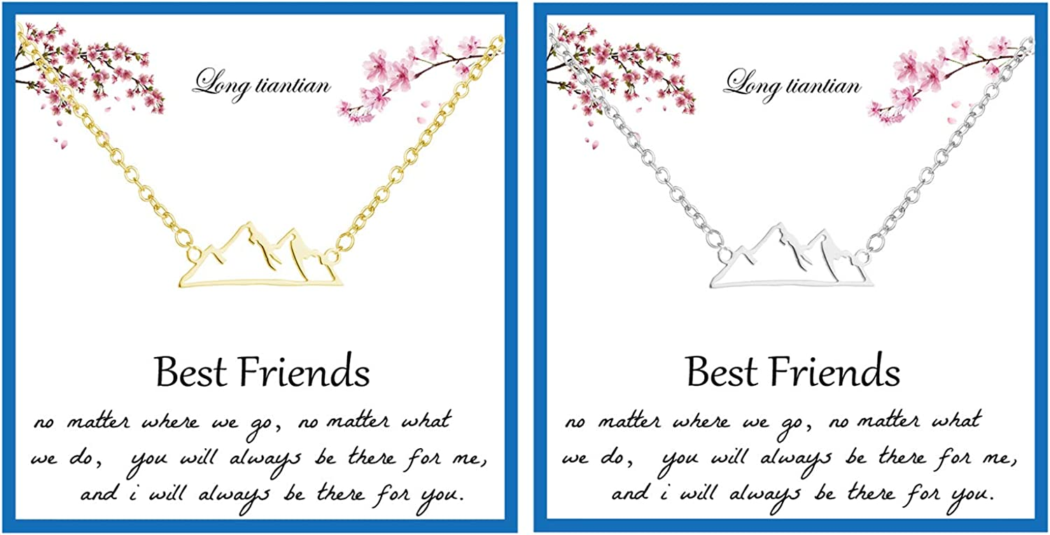 Best Friend Necklaces for 2 Dainty Bar Neckalce Elephant Love Knot Mountain Lock Necklace Jewelry Gifts for Women