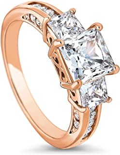 Rose Gold Plated Sterling Silver Princess Cut Cubic Zirconia CZ 3-Stone Anniversary Promise Engagement Ring 2.64 CTW