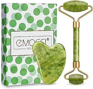 Rouleau de jade Massager Jade Facial et Gua Sha Set,Jade Roller,Rouleau de Peau de Massager Outil de Minceur …