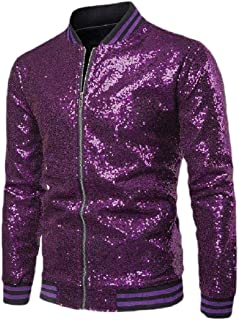 Howely Men's Baggy Nightclub Baseball Sequin Glitter Coat Moto Biker Jacket