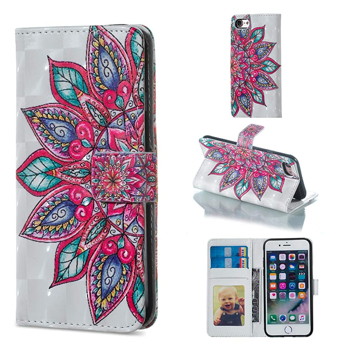 Gostyle Wallet Case for iPhone 6 Plus,iPhone 6S Plus Case,Colorful 3D Painting Pattern Leather Case with Card Holder,Flip Book Style Magnetic Closure Stand Cover-Mandala Flower