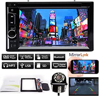 Audio Double Din, Touchscreen, Bluetooth, DVD/CD/MP3/USB/SD AM/FM Car Stereo, 6.2 Inch High Sensitive Touch Screen, Remote Control + Free Reversing Camera