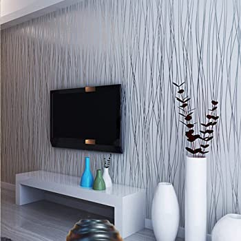 10m Modern Fashion Non Woven Classic Flocking Plain Stripe Wallpaper Wall Paper Roll For Living Room Bedroom Silver Gray Color 0 53m10m 5 3sqm Amazon Com
